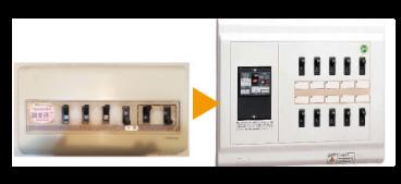 メインブレーカーおよび漏電遮断機能付き分電盤への交換(専有部)