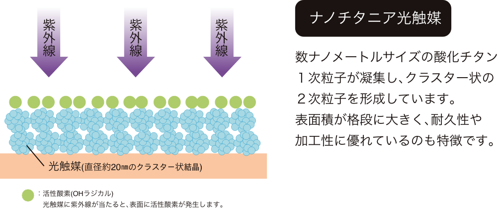 ナノチタニア光触媒 数ナノメートルサイズの酸化チタン1次粒子が凝集し、クラスター状の2次粒子を形成しています。表面積が格段に大きく、耐久性や加工性に優れているのも特徴です。
